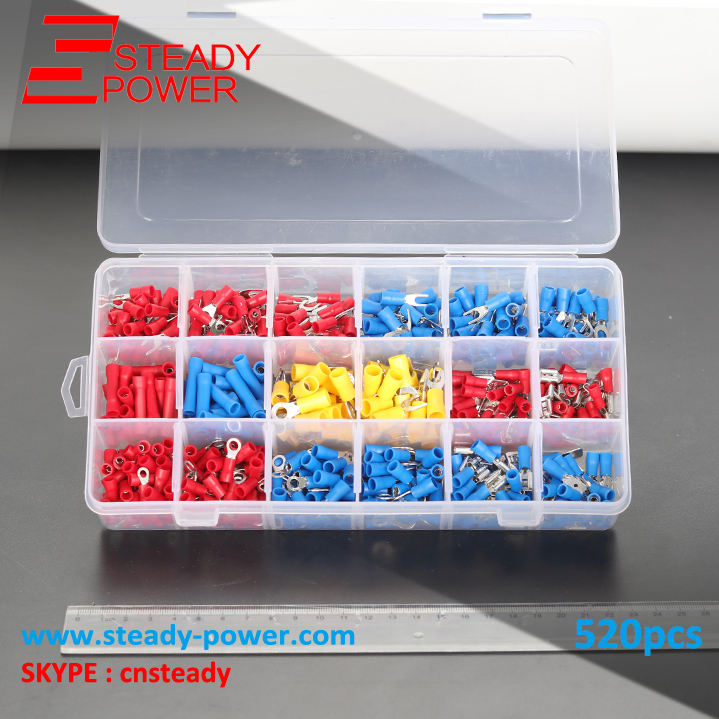 520Pcs Assorted Insulated Electrical Wire Terminals Crimp Connector Spade Ring Fork Set Red Yellow Blue 300pcs assorted insulated electrical wire terminals crimp connector spade set red yellow blue