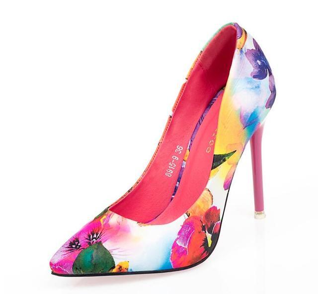 10CM Colorful Ladies Floral Print Slip On Pointed Toe Pumps 3