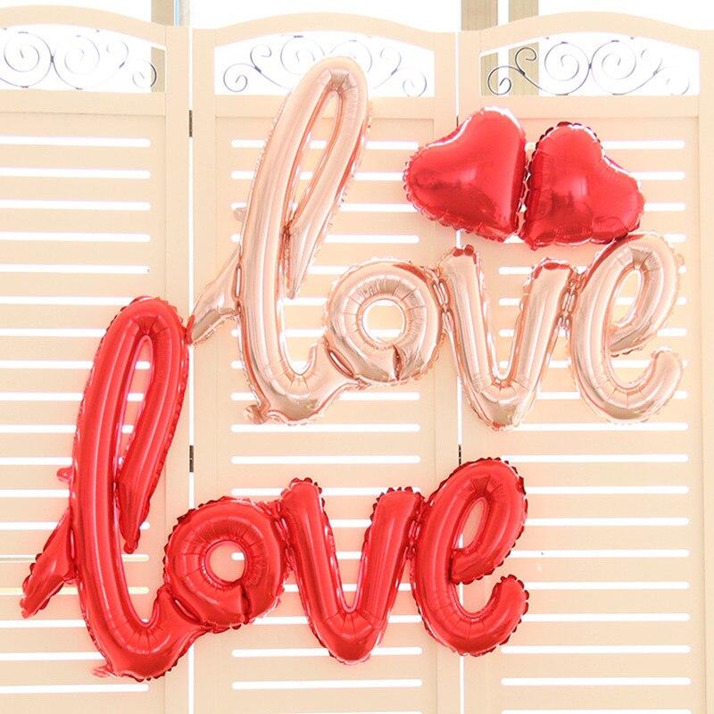 Foil balloons love siamesed red heart ballon wedding for I love you letter balloons