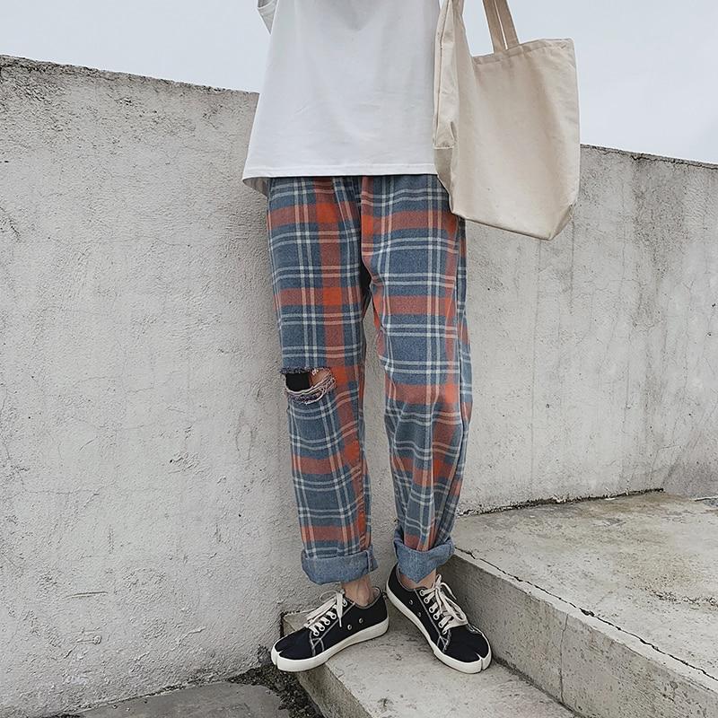 2019 Summer Men's Streetwear Cotton Baggy Homme Jeans Lattice Printing Hole Trousers Casual Male Wide Leg Pants Plus Size M-2XL