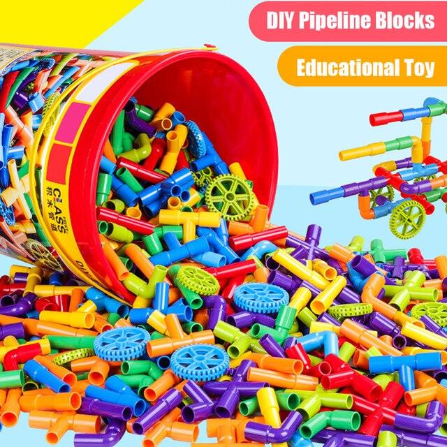 38 306pcs חינוכיים DIY צינור מים אבני בניין הרכבת צינור מנהרת פלסטיק בלוקים צעצועים לילדים מתנות