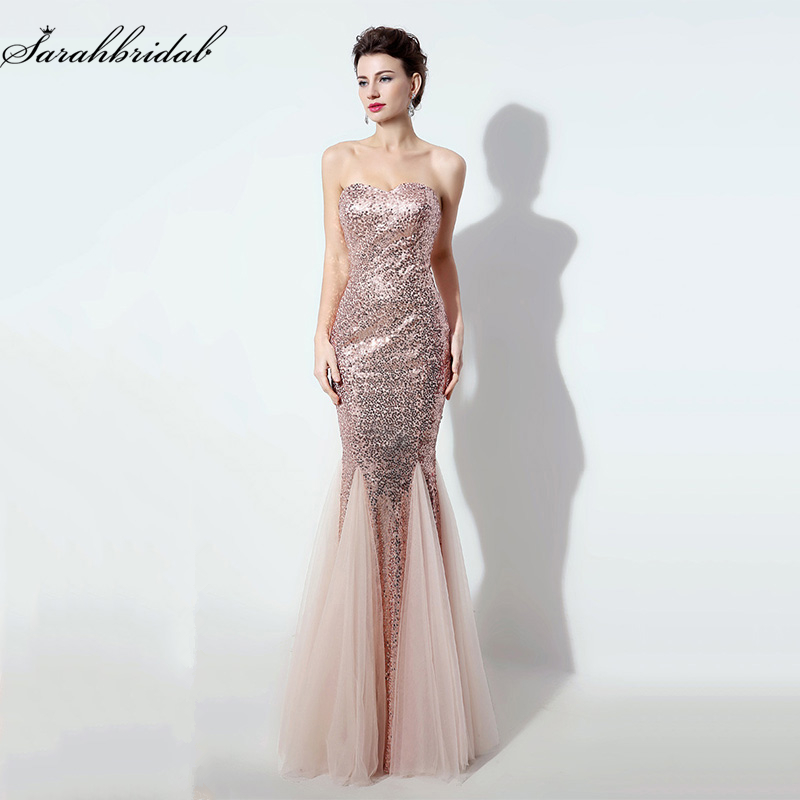 2016 New Real Photo Sequined Mermaid Prom Dresses Sweetheart Blush Floor Length Long Evening Gowns Vestido De Festa SD235