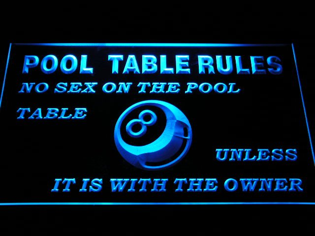 s234 Pool Table Rules No Sex unless with the Owner Eight 8 Ball Room LED Neon Sign On/Off Switch 20+ Colors 5 Sizes