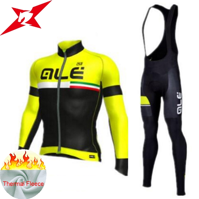 2017 Ale Team Men`s Winter Thermal Fleece Four Color Cycling Jersey Set Outdoor Sport Coat Clothing Bib Suit with 9D Gel #607 st peter s golden ale