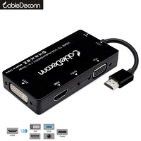 Hdmi Splitter Hdmi To Hdmi Vga Dvi Audio And Video Cable Hdmi Hub Multiport Adapter 4in1