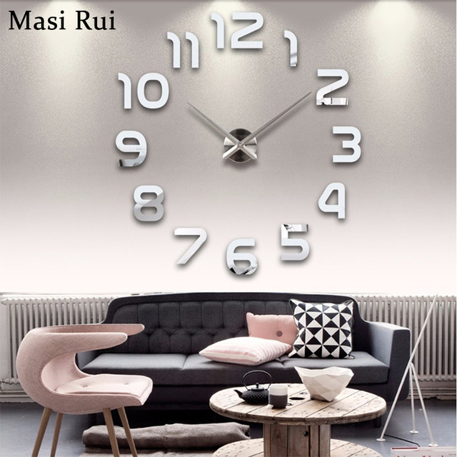 Fashion 3d Big Wall Clock Modern Design Home Decor Mirror Watch Stickers Living Room Creative