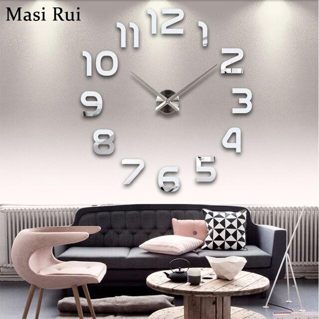Mode 3d große wanduhr modern design home decor spiegel wand uhr aufkleber  wohnzimmer kreative reloj de pared freies verschiffen