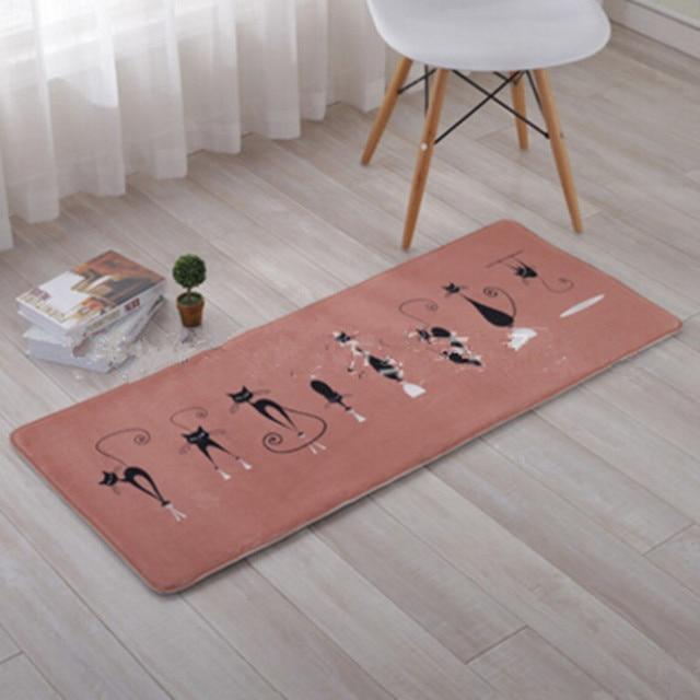 Black Cute Cat Floor Mats Slip-resistant Doormate Pad Kitchen Carpet Home Entrance Floor Mat Hallway Area Rugs Kitchen Mat