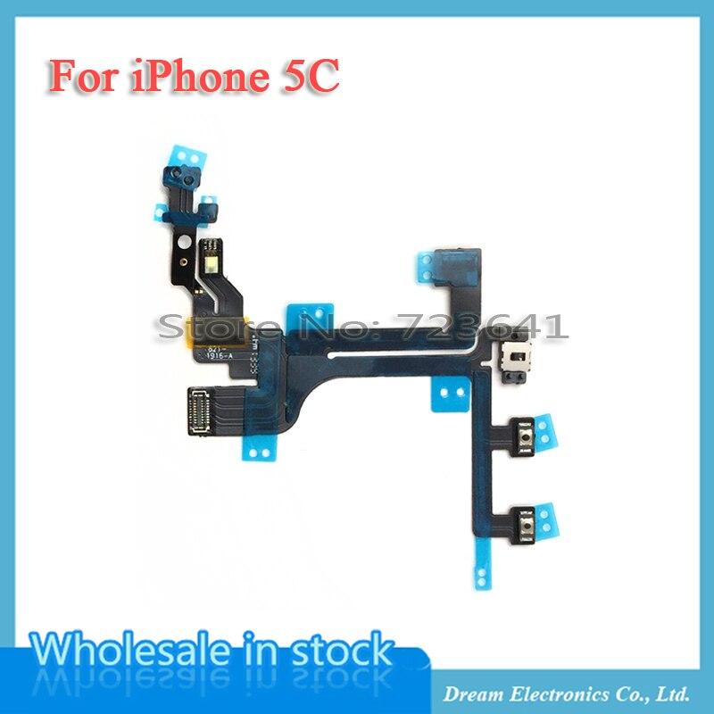 imágenes para MXHOBIC 10 unids/lote Power Flex Cable Para iPhone 5C Silencio de Volumen del Interruptor On Off Flex Ribbon Cable piezas de Repuesto