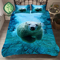 HELENGILI 3D комплект постельного белья с принтом белого медведя  набор пододеяльников  Реалистичная постельное белье с наволочкой  набор домашн...