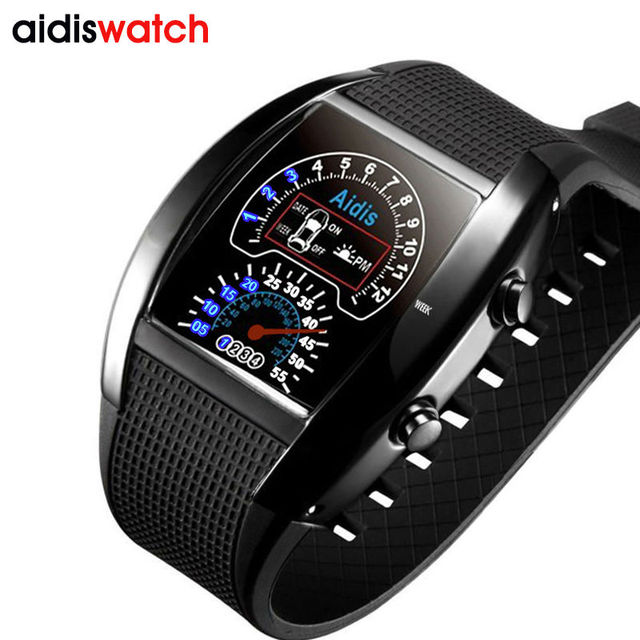 Waterproof Electronic LED Student Military Sports WristWatches Fashion Digital Car Dashboard Alloy Case PU Strap Watches