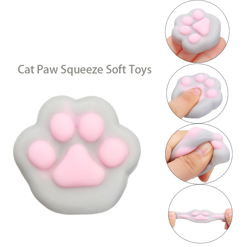 Squishy Cartoon Cat Paw Toys Squeeze Stop Stress Toy Feet Doll Novelty Stress Relief Venting Joking Decompression Funny Toys
