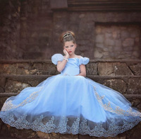 Children S Fancy Dresses Kids Halloween Costumes For Girls Puffy Sleeve Blue And White Wedding Cinderella