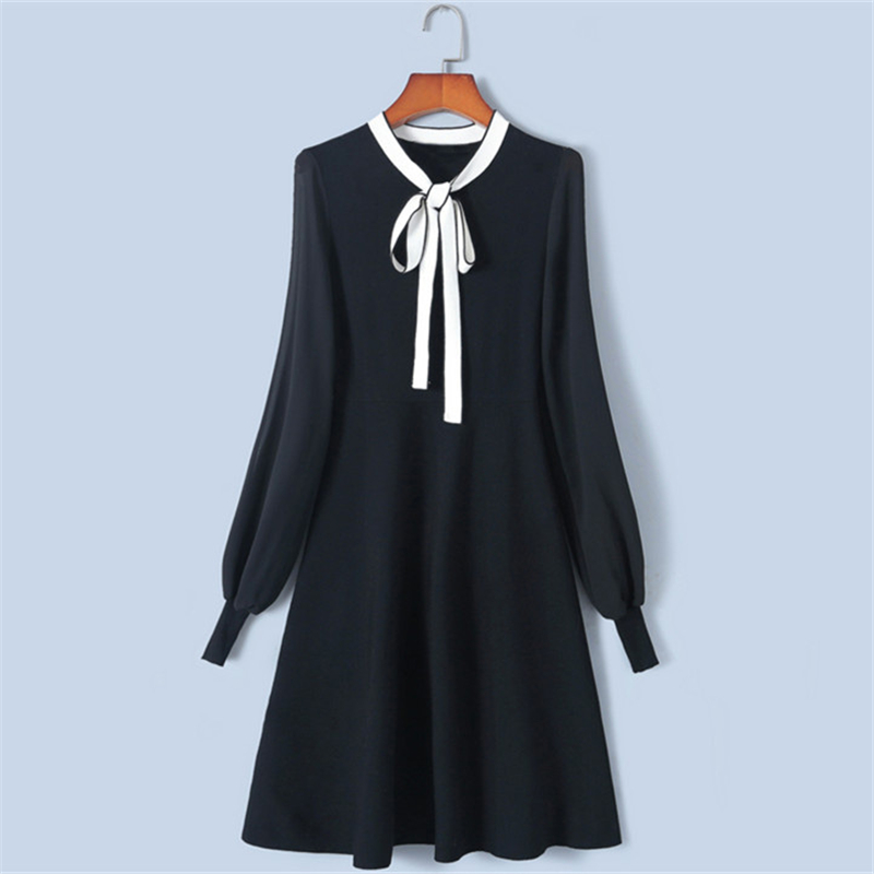 Tunjuefs Slim Elegant Chiffon Sleeve Dress Runway Robe 2019 New Spring Bow Dress Women Pullover Knit