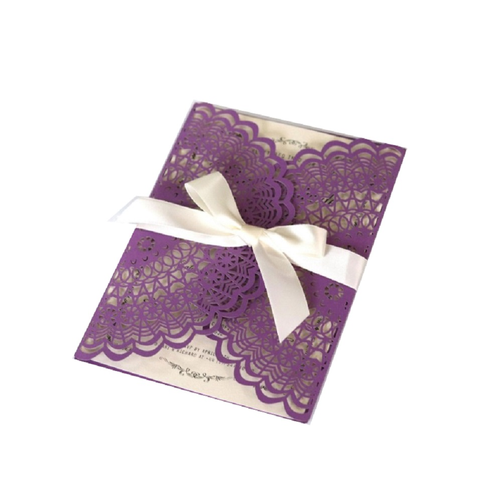 Wedding Invitations Business: 50pcs Dark Purple Laser Cut Business Invitation Invites