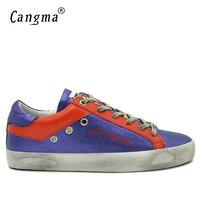 CANGMA Retrò Uomini Originali Scarpe Viola Genuino Sneakers In Pelle Sintetica dell'uomo Piatto Scarpe Casual Impermeabile E Traspirante Calzature