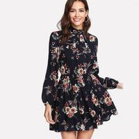 Summer Dress Floral Women Dresses Multicolor Elegant Long Sleeve High Waist A Line Chic Dress Ladies Tie Neck 2019 Dress