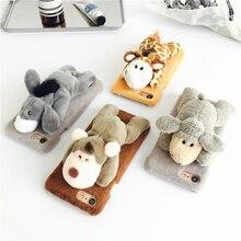 Игрушки животных лежать ничком на Плюшевые чехол для iPhone 7 7 плюс 6 6S + плюс милый мультфильм осел Обезьяна Жираф овец подарок для друга