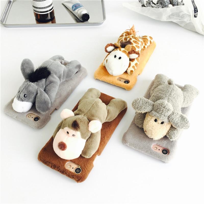 Цена за Игрушки животных лежать ничком на Плюшевые чехол для iPhone 7 7 плюс 6 6S + плюс милый мультфильм осел Обезьяна Жираф овец подарок для друга