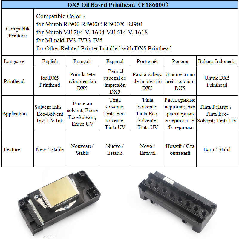 F186000 DX5 Printhead untuk Mutoh RJ900 RJ900C RJ900X RJ901 VJ1204 VJ1604 VJ1614 VJ1618 Mimaki JV33 JV3 JV5 Eco Solvent Cetak kepala