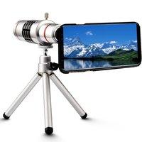 18x Vergrootglas Handmatige Focus Telelens + Telefoon Houder + Case + Tas + Reinigingsdoekje + Camera Foto Statief voor Samsung Galaxy S8 Plus
