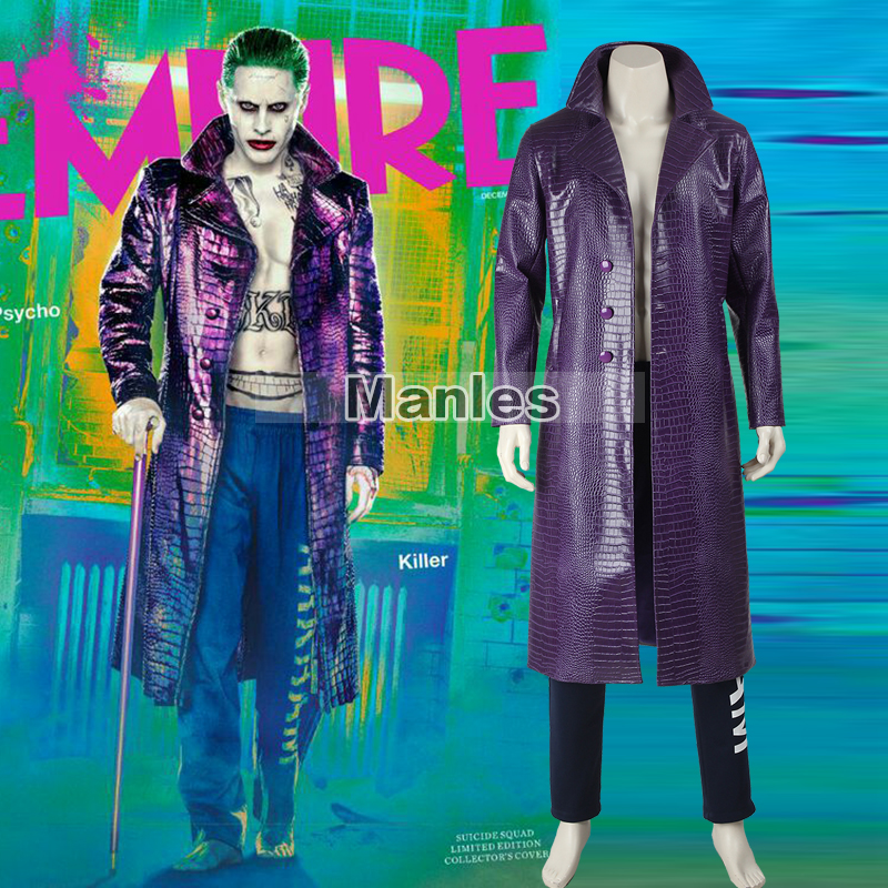 DC Comics Movie Joker Cosplay Costume Batman Joker Costume Men Joker Trench Joker Outfit Halloween Clothing Full Set Custom Made