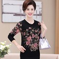 Middle-aged and old ladies knitted positioning printed big yards long sleeve round collar    PB26560048-1648
