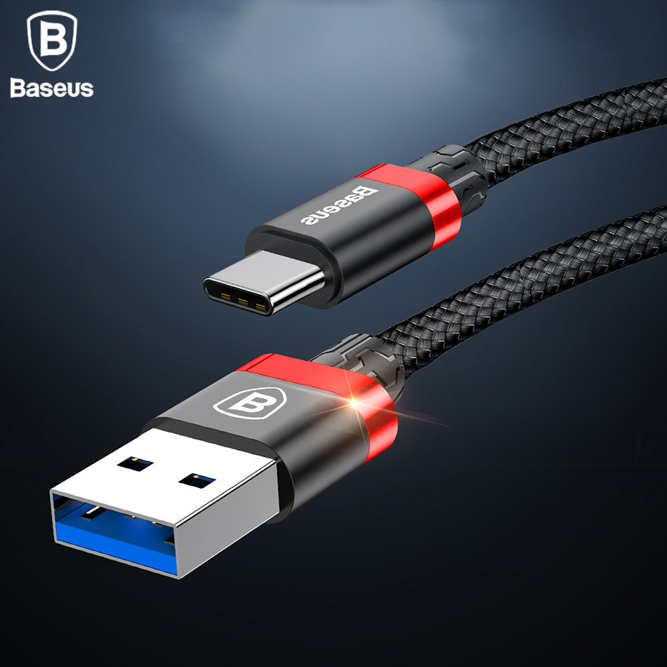 Baseus USB Type C Cable For Samsung Galaxy S9 S8 Plus Note8 USB 3.0 Type-C Fast Charging Cable For Oneplus 6 5T 5 For Xiaomi Mi6