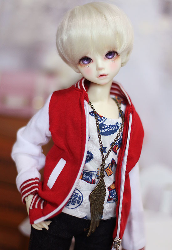 Doll clothes white jointed baseball coats for 1/3 1/4 1/6 BJD DD SD MSD YOSD SD17 Uncle doll colthes accessories fashion red white turtleneck sweater for bjd 1 3 sd17 uncle doll clothes accessories
