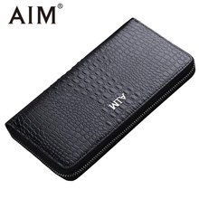 AIM Luxury Crocodile Men Business Wallet Leather England Style Vintage Long Zipper Wallets for Men Coin Purse ID Cards Organizer