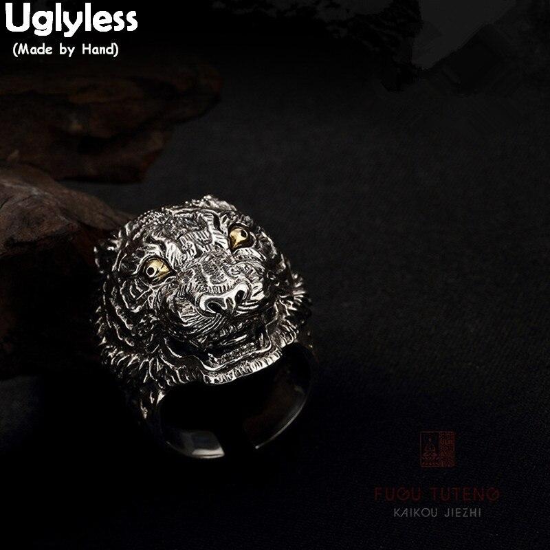 Uglyless Thai 925 en argent Sterling hommes anneaux d'ouverture à la main sculpté grande taille Horrible chiens anneau Cool gars Bijoux Bijoux Vintage