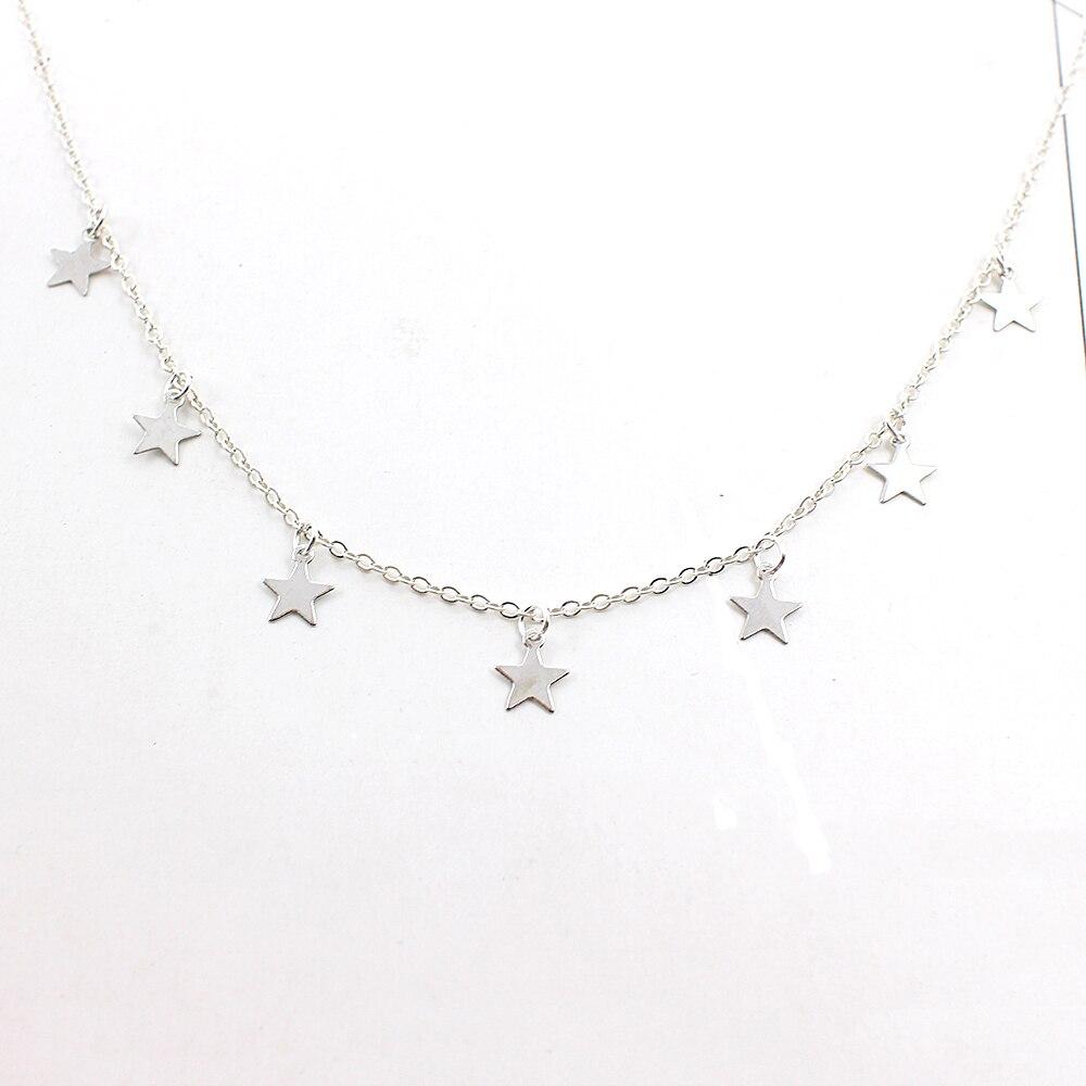 Joyer-a-de-moda-de-las-mujeres-de-plata-de-oro-7-estrellas-gargantilla-colgante-de (1)