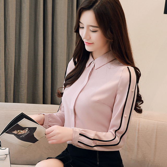 a16949f4a7e5f4 Autumn shirts women 2019 chiffon blouse long sleeves Korean style work wear  ...