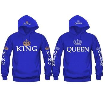 Bigsweety New Fashion King Queen Printed Sweatshirt Lovers Couples Hoodies Hooded Sweatshirt Casual Pullovers Tracksuits
