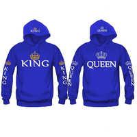 Bigsweety New Fashion King Queen bluza z nadrukiem miłośnicy pary bluzy z kapturem bluza swetry na co dzień dresy