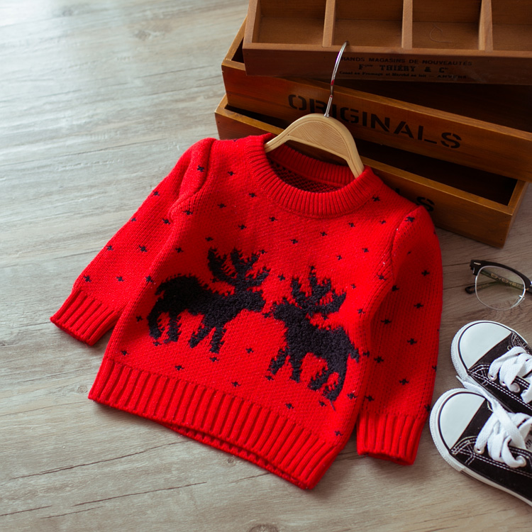 christmas sweater winter children thick cartoon deer sweater kids knitted sweater baby boys girls fashion casual red sweaters in sweaters from mother kids