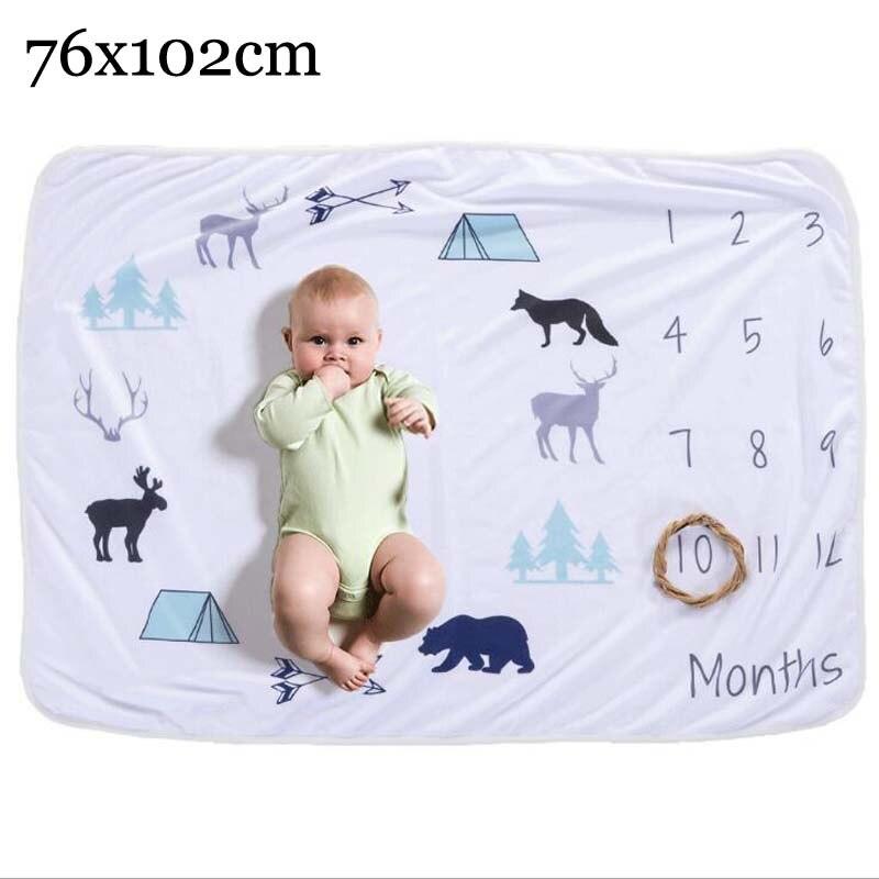 Прямоугольное одеяло-Ростомер для новорожденного ребенка/ребенка, подарок для мальчика, одеяло для фотосъемки 76X102 см - Цвет: deer