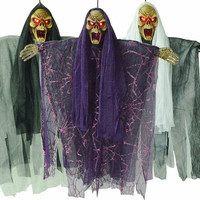 2017 New Scary Electric Voice Control Hanging Witch Skeleton Ghost Bar Haunted House Decoration Props Halloween