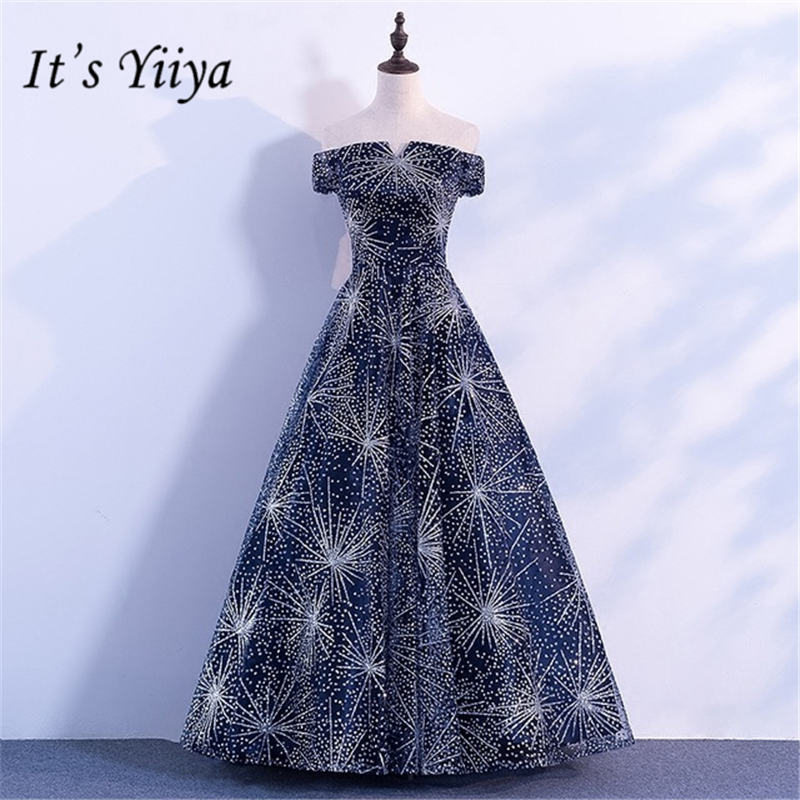 It's YiiYa New Bling Sequined Starry Sky Formal   Dresses   Sexy Boat Neck A-line   Evening     Dress   JLM007