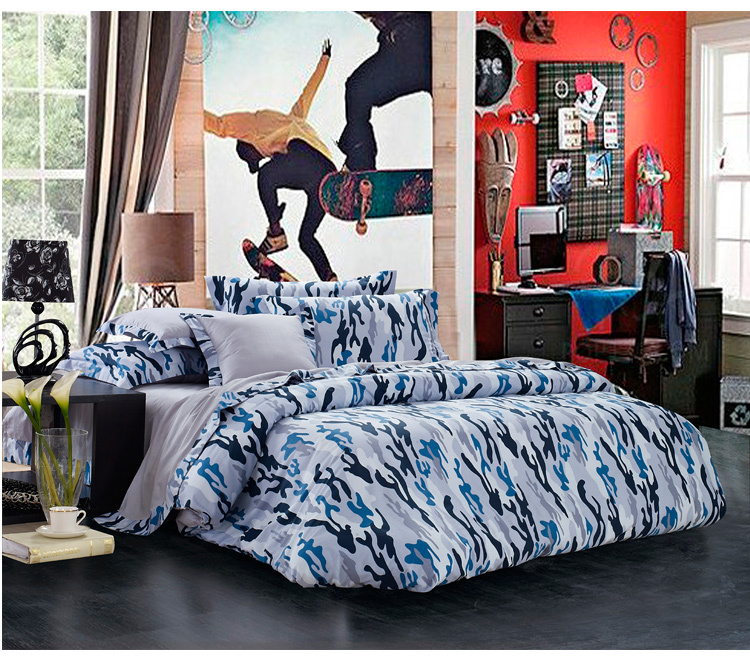 Blue Gray Camouflage Cool Bedding Sets Queen Full Size For Boys Reversible Quilt Cover Bed Sheet Set Mens Bedclothes
