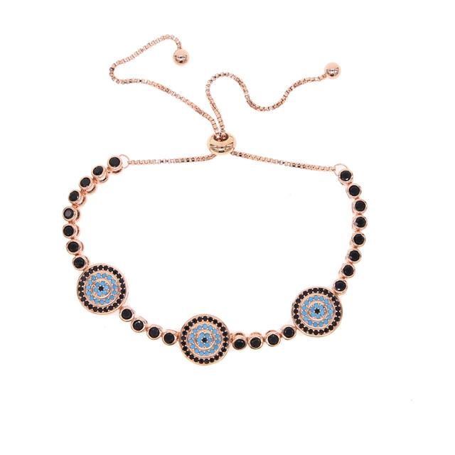 2019 Pulseiras Rose GOLD Color Tennis Chain black bead Bracelet For Women  Evil Eye Turkish fatima Jewelry Fashion bangles New 47fdaa193