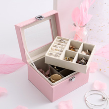 Simple large-capacity multi-function pu leather jewelry box Transparent open-cover double-layer storage