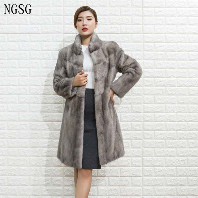 9a831789bd28b Fur Mink Coat Women Winter Real Fur Black White Gray Sexy Modern Noble Style  Knee Length