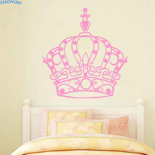 ZOOYOO Beautiful Princess Crown Wall Sticker Art Murals Home Decor ...