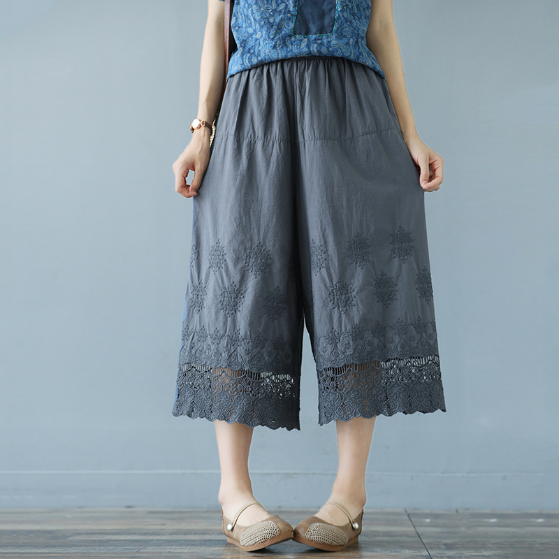 sweet lace Hook flower embroidered elastic waist solid color   wide     leg     pants   cotton calf-length   pants