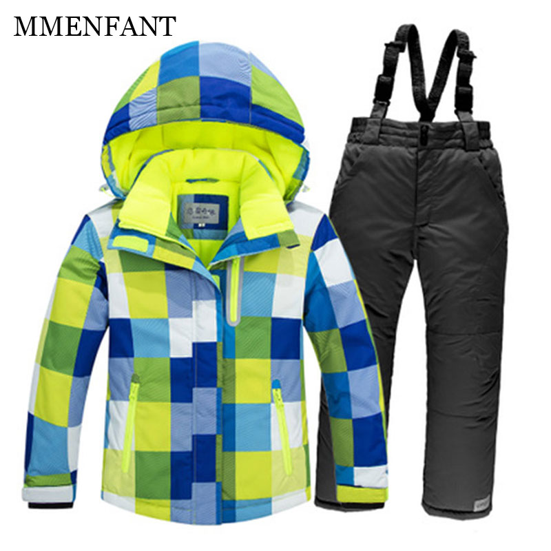 Family matching clothes Winter -35 Degree men Ski Suit Female Waterproof Super Warm Ski jacket+Pants kids Outdoor Sport Suits