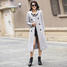 2017 Winter New Women's Double Breasted Wool Blends Trench Coat Female Plus Size Stand Collar Long Gray Wool Jacket Coats