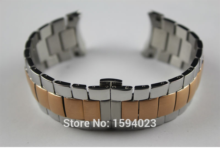 22mm T024417 New Watch Parts Male Solid Stainless steel bracelet Rose gold plating strap Watch Bands For T024