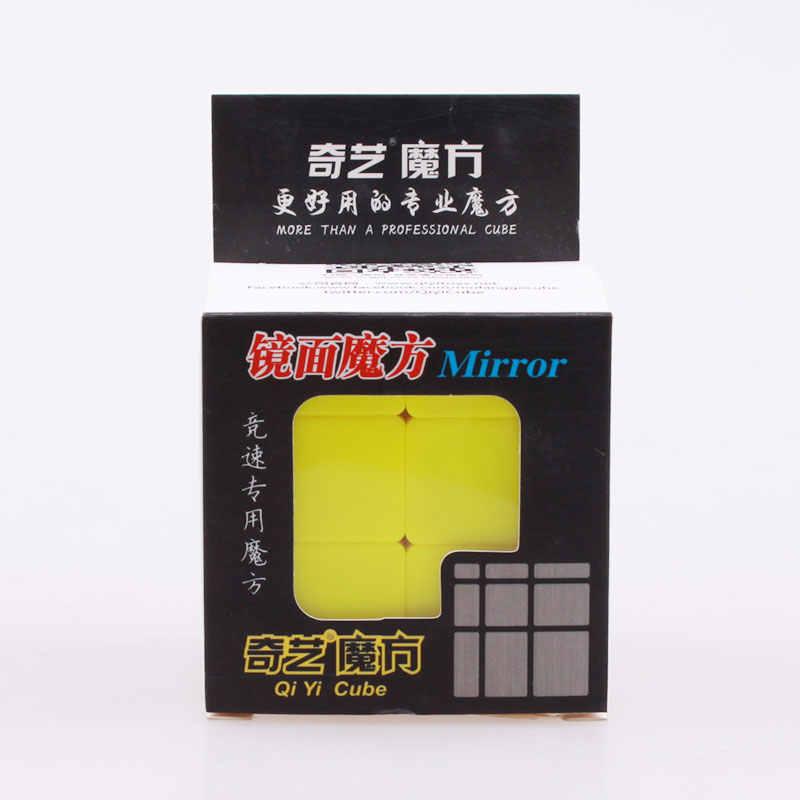 Qiyi 3x3x3 stickerless سرعة مرآة سحرية مكعب المهنية المصبوب المغلفة الأصفر لغز تطور كوبو ماجيكو اللعب للأطفال