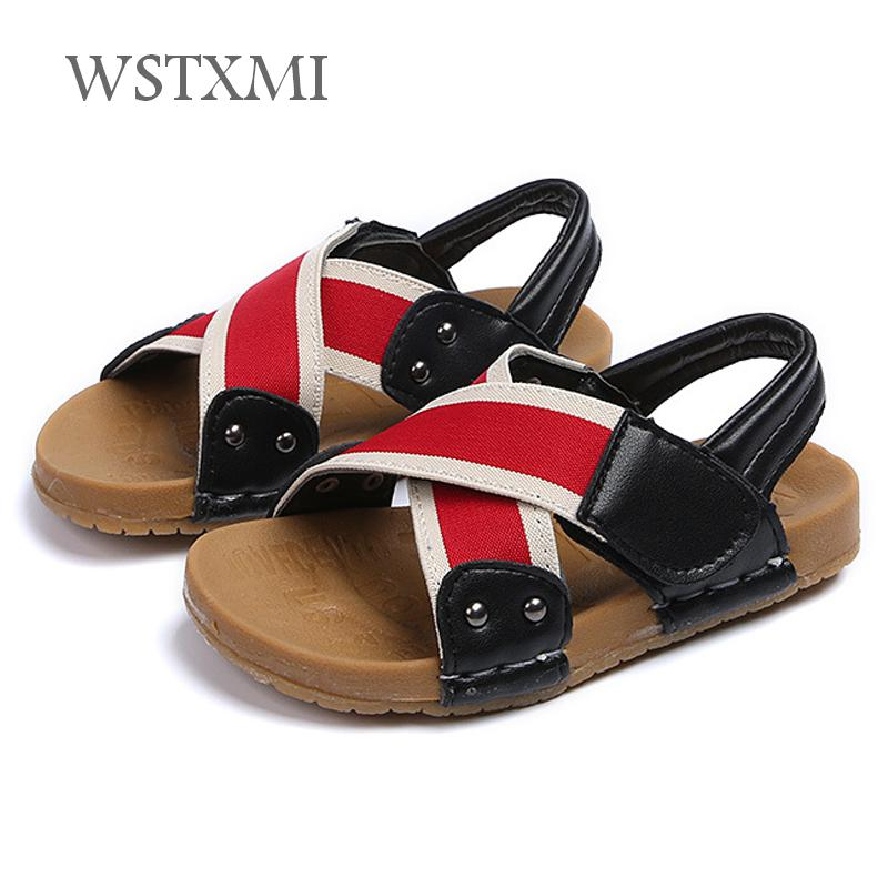 2019 Summer Kids Sandals Boys Shoes for Toddler Soft Non slip Beach Sandals Baby Girls Pu Leather Children Casual Flat Sandals|Sandals| |  - title=